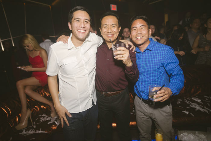 Living in Las Vegas - My friend, my dad, and me at Hakkasan Nightclub.