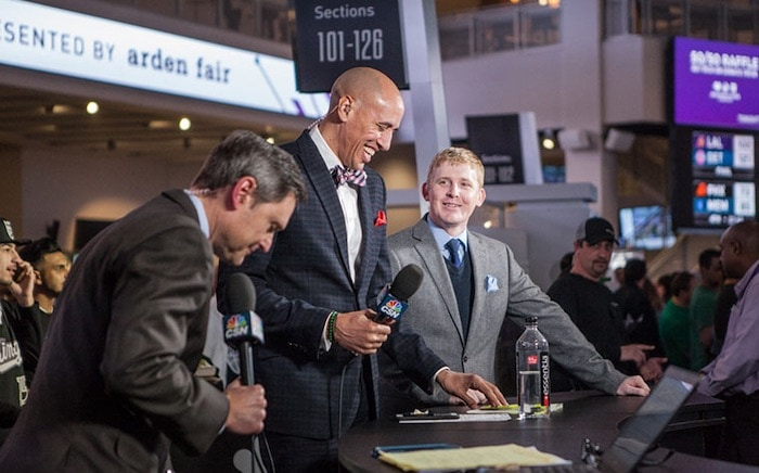 How to Become a Journalist: James Ham on set with Doug Christie and Jim Kozimor at Golden 1 Center for Kings Pregame (Photo: Kings.com)