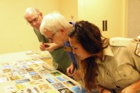 Contest judges pore over 191 entries: photographer David Meardon, DDWS past president Doris Hardy, and supervisory refuge ranger Toni Westland.