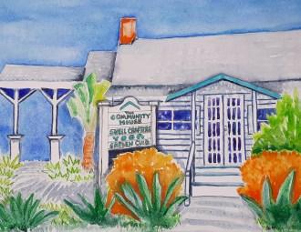 Sanibel Community House. Original watercolor by Anita Force Marshall