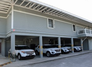 The parking overhang would be renovated into locker rooms for men and women police officers. SC photo by Chuck Larsen