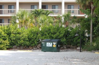The current and non-permitted location of the Sandbar's dumpster.