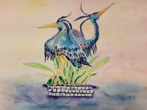 Great Blue Tango Watercolor by Anita Force Marshall