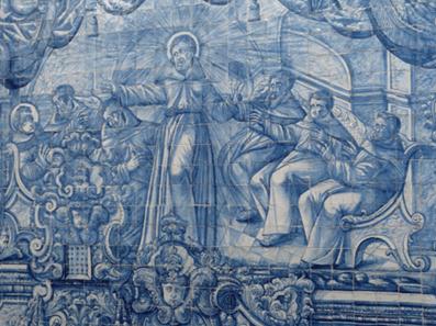 S. Francisco aparece a Santo António no capítulo de Arles (França). Painel de azulejos no interior da igreja.