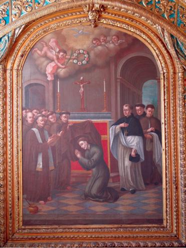 Santo António veste o hábito franciscano: sacristia, quadro de Pascoal Parente (1796)