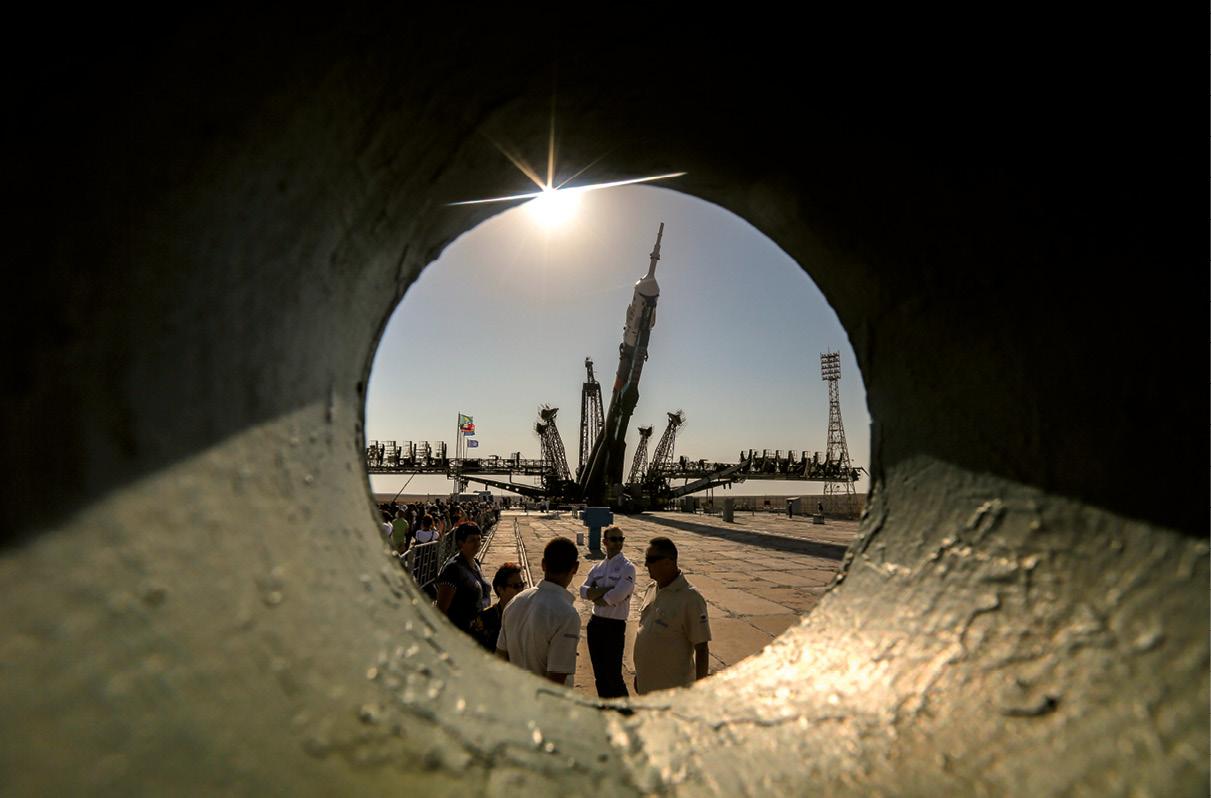 Foguetão de lançamento da nave espacial Soyuz, cosmódromo de Baikonur, Cazaquistão.