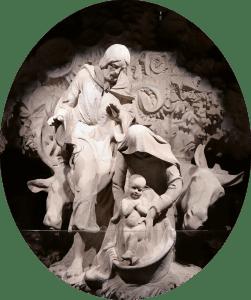 Escultura da Natividade na porta de entrada da Basílica da Sagrada Família de Barcelona