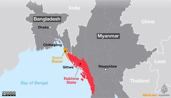 mapa de Myanmar e do Bangladesh. Os refugiados da etnia Rohingya fogem da violência no estado de Rakhine (Myanmar) sobretudo para Cox's Bazar (Bangladesh).