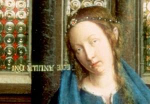 """A resposta da Virgem está escrita ao contrário, """"de pernas para o ar""""."""