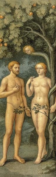 Adão e Eva e serpente com cabeça de mulher enrolada na Árvore do Conhecimento. Masolino, da Panicale, 1383-1440?