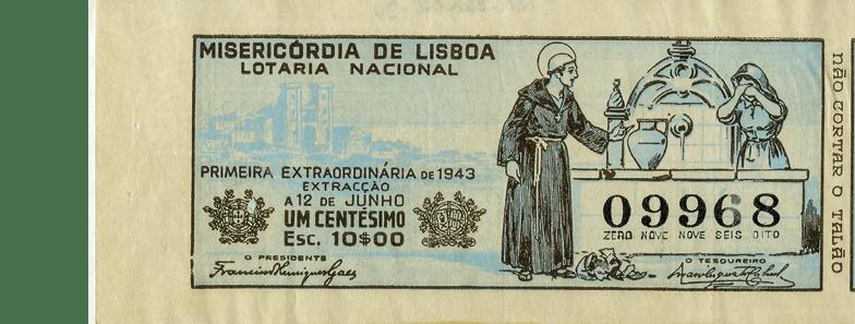 Bilhete da lotaria de Santo António de 1943. MA.ESP.DOC.0108