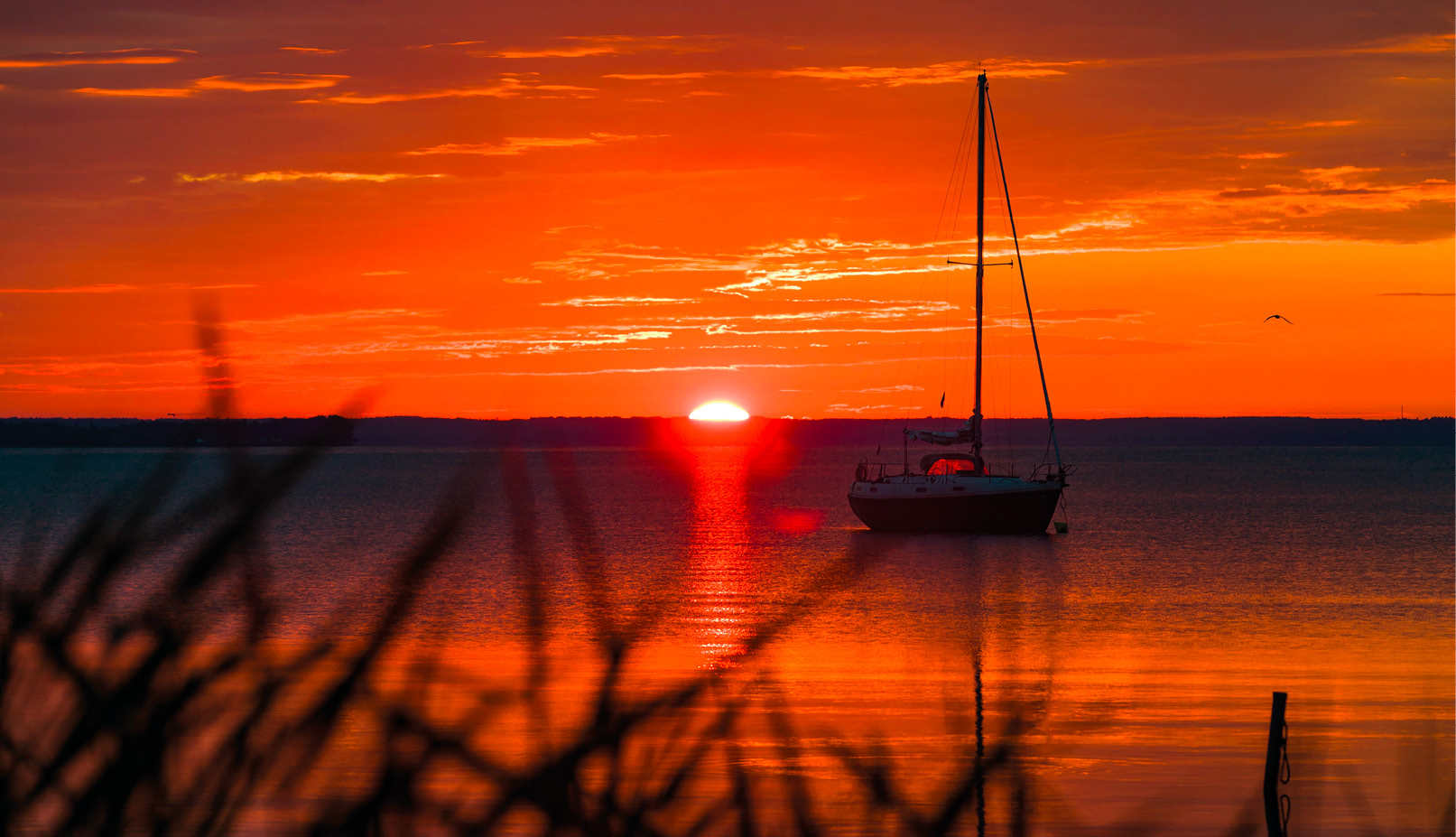 Veleiro ancorado nas margens do Lago Balaton, ao nascer do sol, em Tihany, a sudoeste de Budapeste, Hungria. EPA / Balazs Mohai