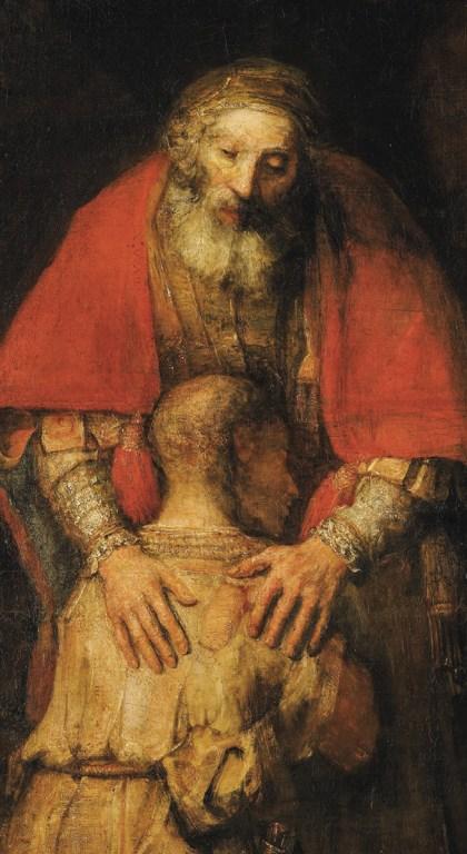 O Filho Pródigo (pormenor), séc. XVII, Rembrandt. Atualmente no Museu Hermitage, em São Petersburgo.