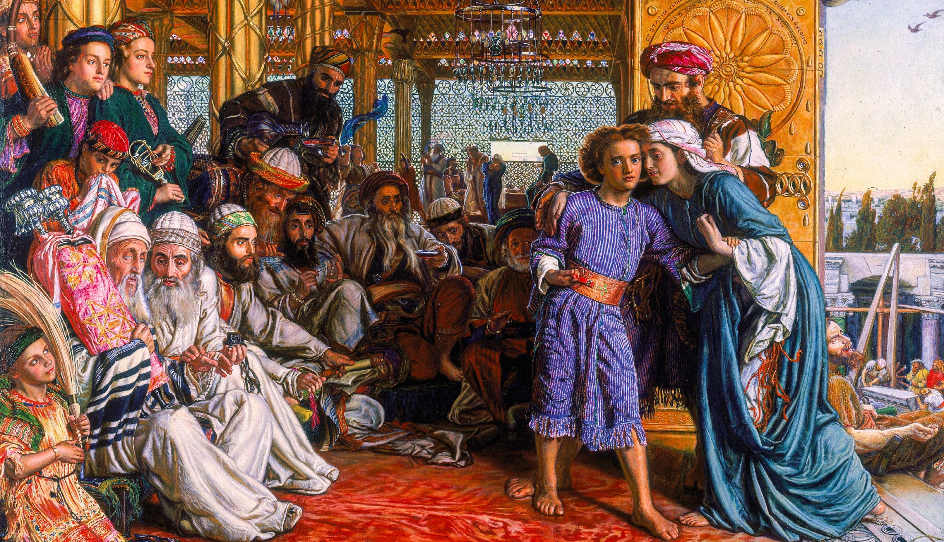 O encontro do Menino Jesus no Templo. Óleo sobre tela de William Holman Hunt, 1860, https://commons.wikimedia.org/.