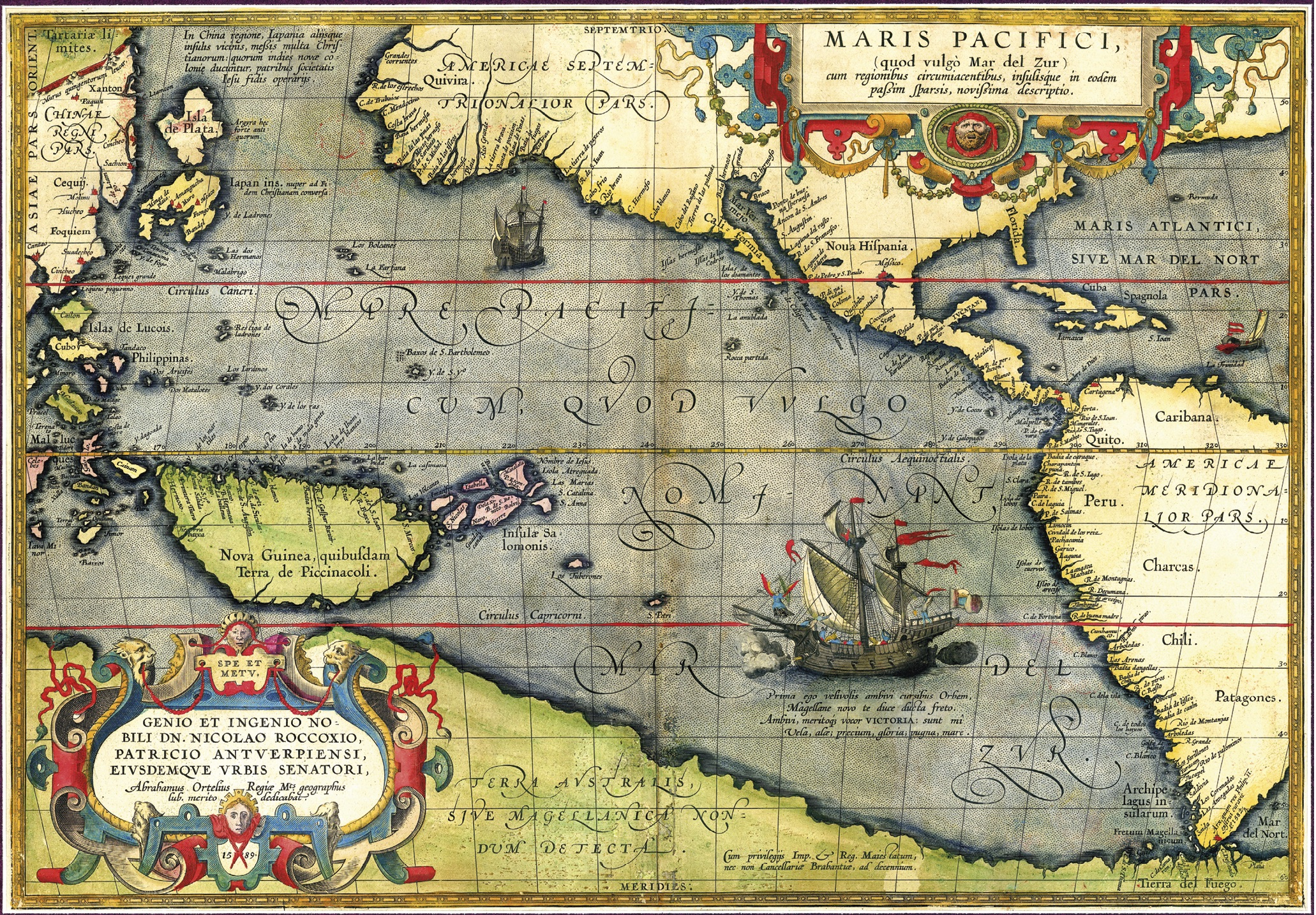 Mapa do oceano Pacífico, de Abraham Ortelius, 1589