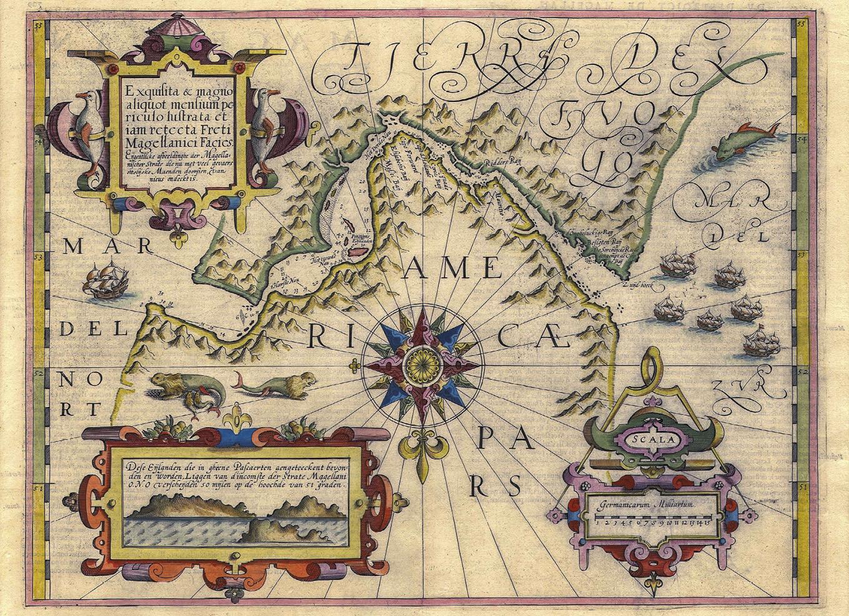 Estreito de Magalhães, mapa de Jodocus Hondius, 1606. Nota: Norte e Sul invertidos. Wikimedia Commons.