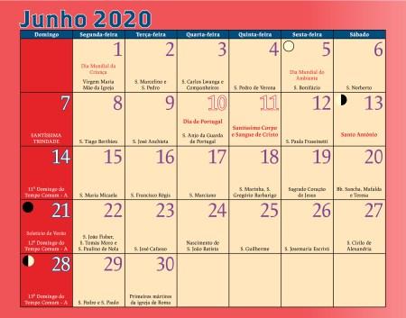 Calendário Antoniano Junho 2020