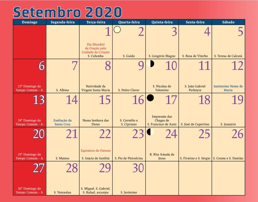 Calendário Antoniano Setembro 2020