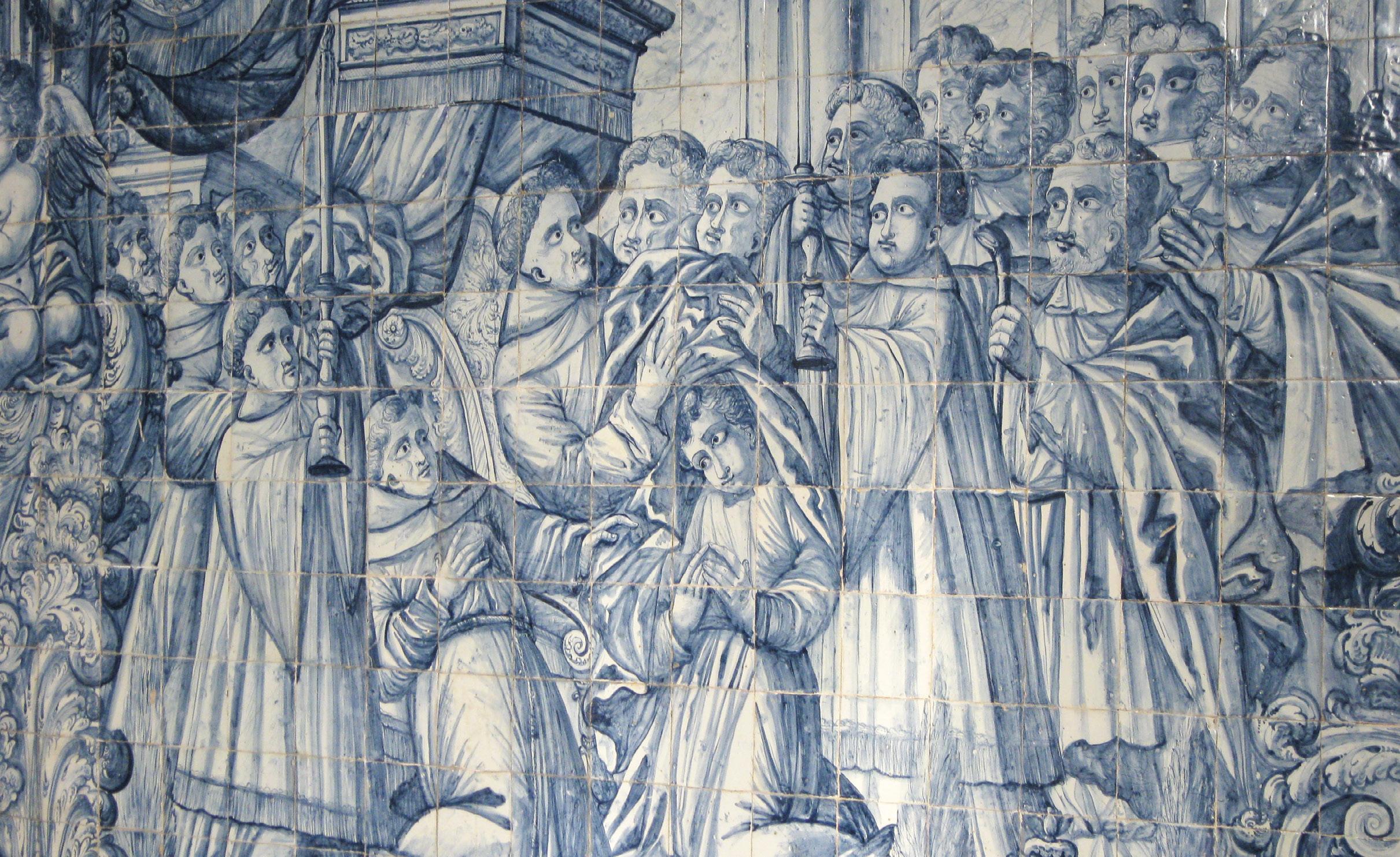 Vestição de Santo António, painel de azulejos na sacristia da Igreja de Santo António dos Olivais de Coimbra, Foto MSA.
