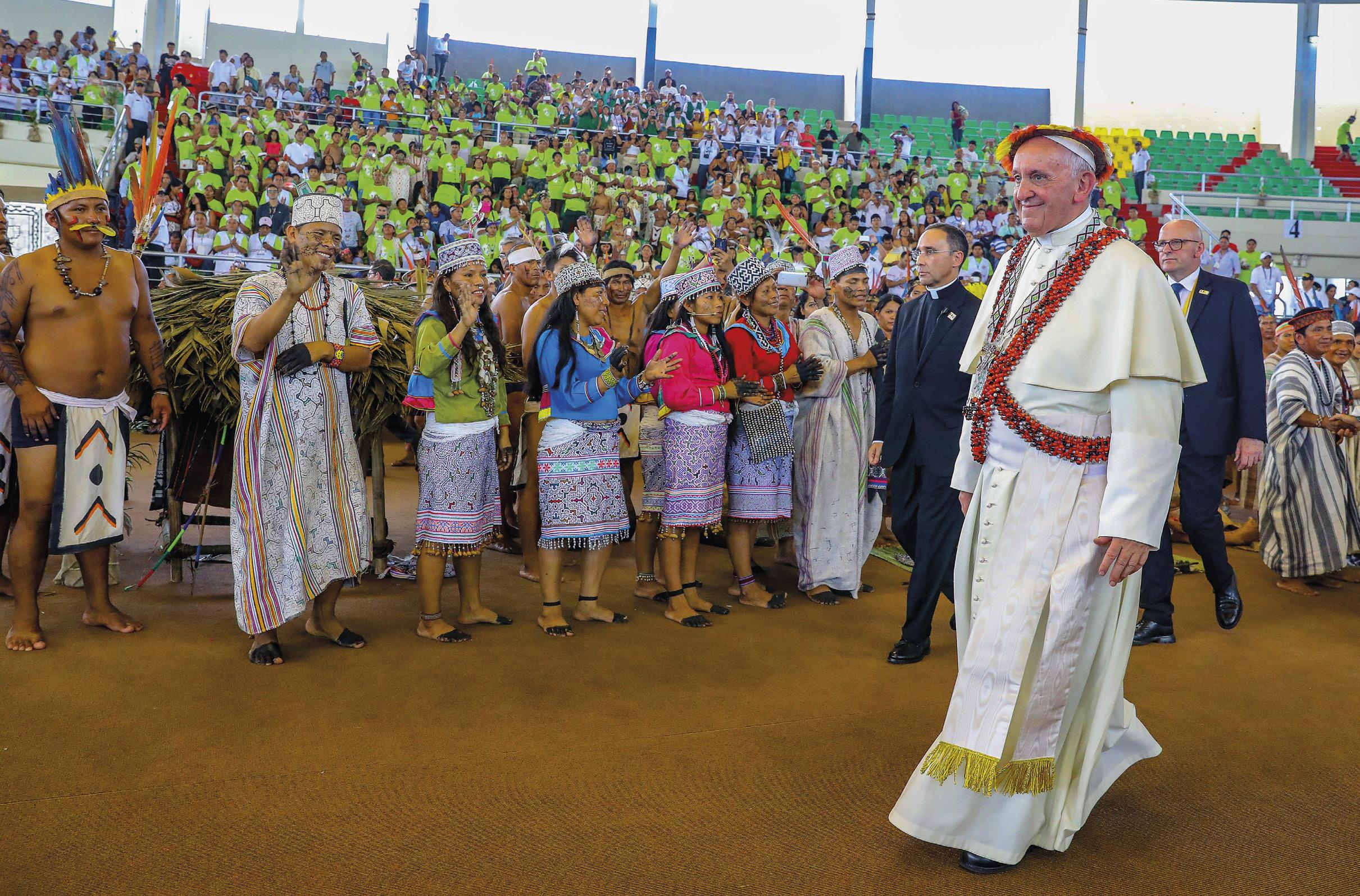 Encontro do Papa com índios da Amazónia, na visita ao Peru, 19 de janeiro de 2018. Foto: André Valles.