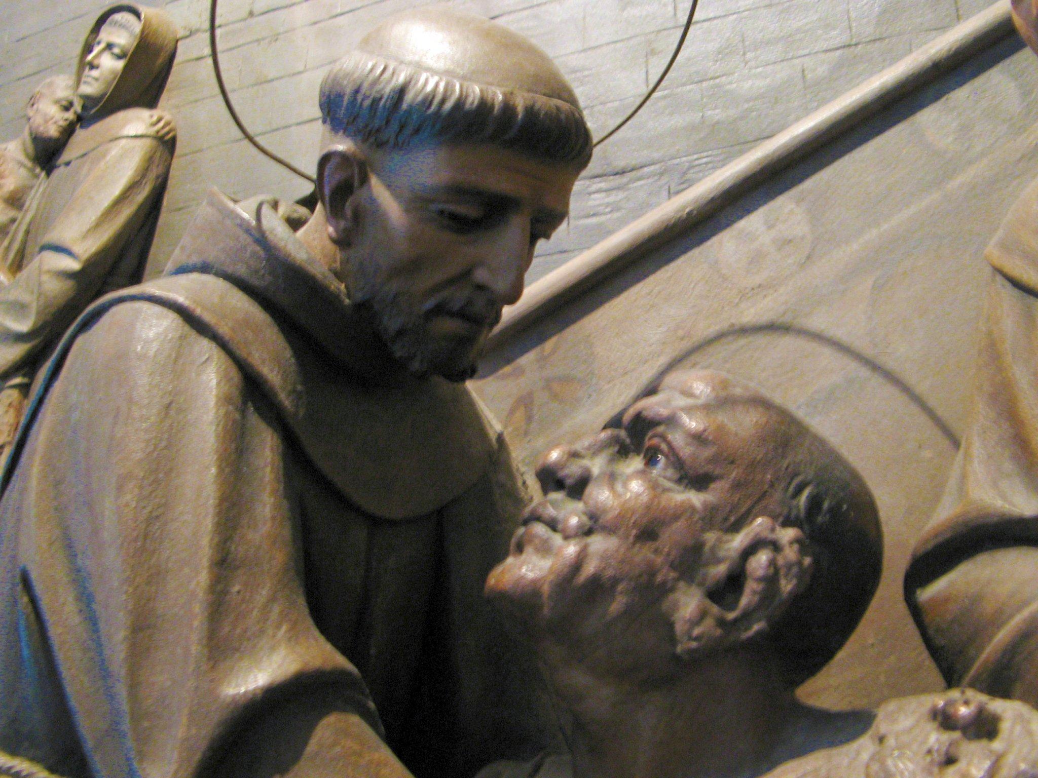 São Francisco e o leproso, Santuário de São Francisco, Greccio, Itália