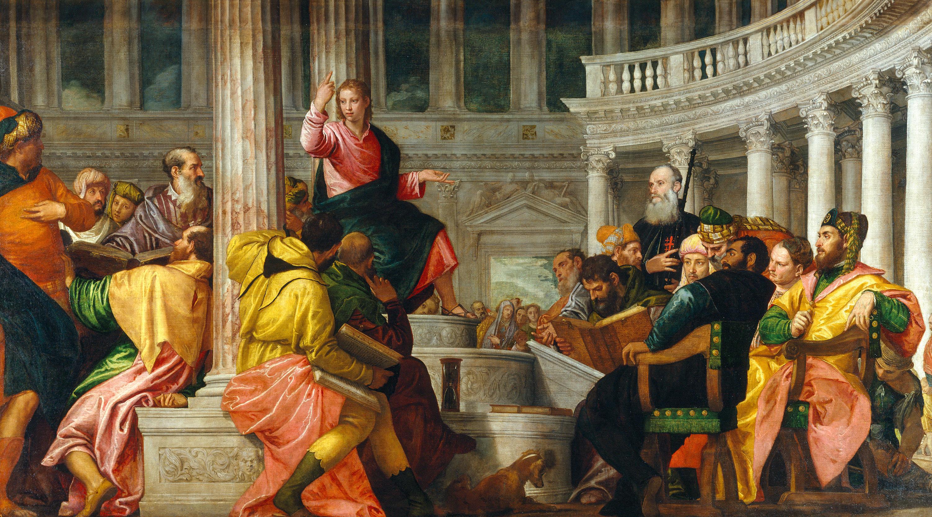 Jesus no meio dos Doutores da Lei. Óleo sobre tela, de Paolo Veronese, 1560. Museu do Prado, Madrid. Commons.wikimedia.org.