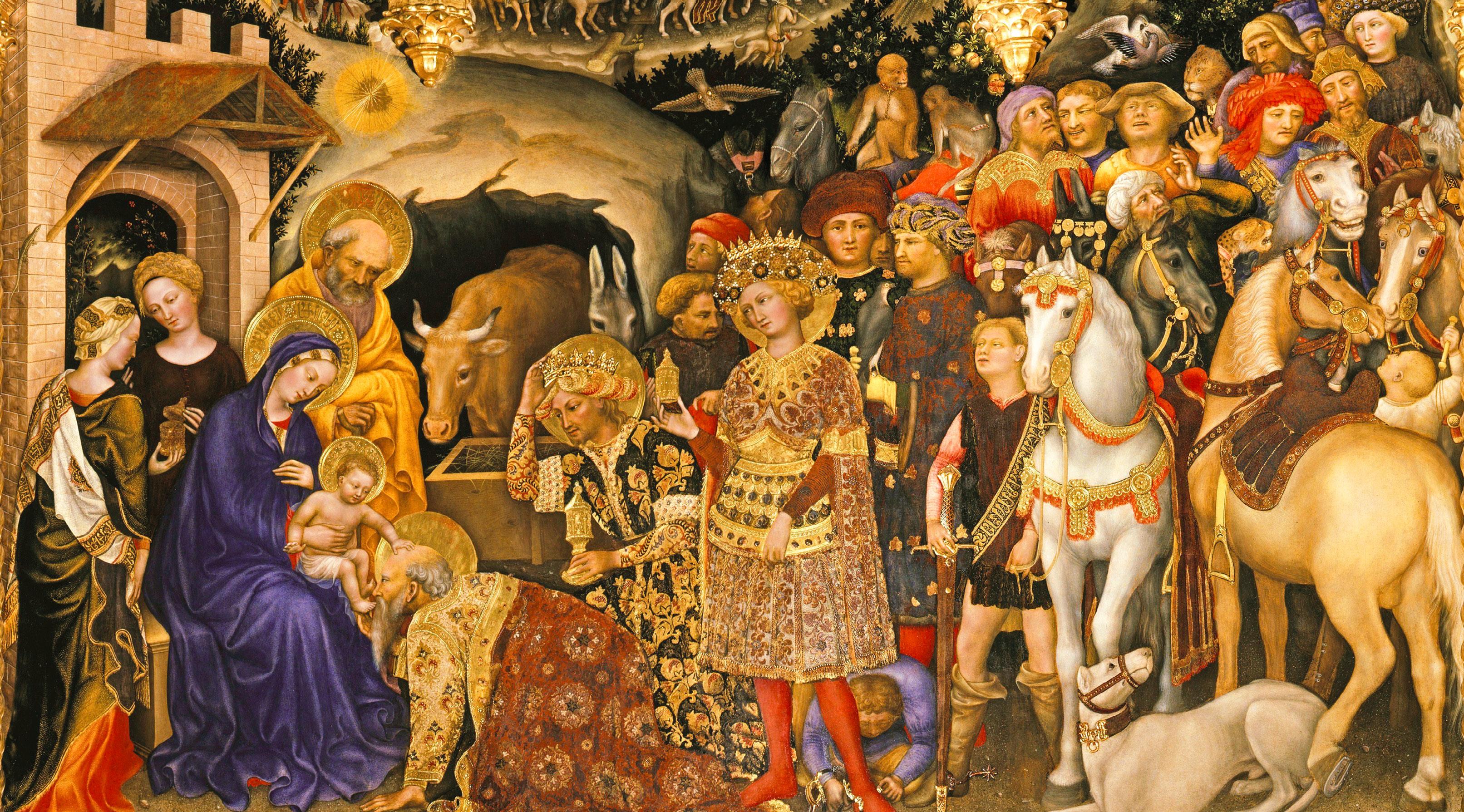 A Adoração dos Reis Magos. Têmpera sobre madeira, de Gentile da Fabriano, 1423. Galeria Uffizi, museu de arte em Florença, Itália. Commons.wikimedia.org.