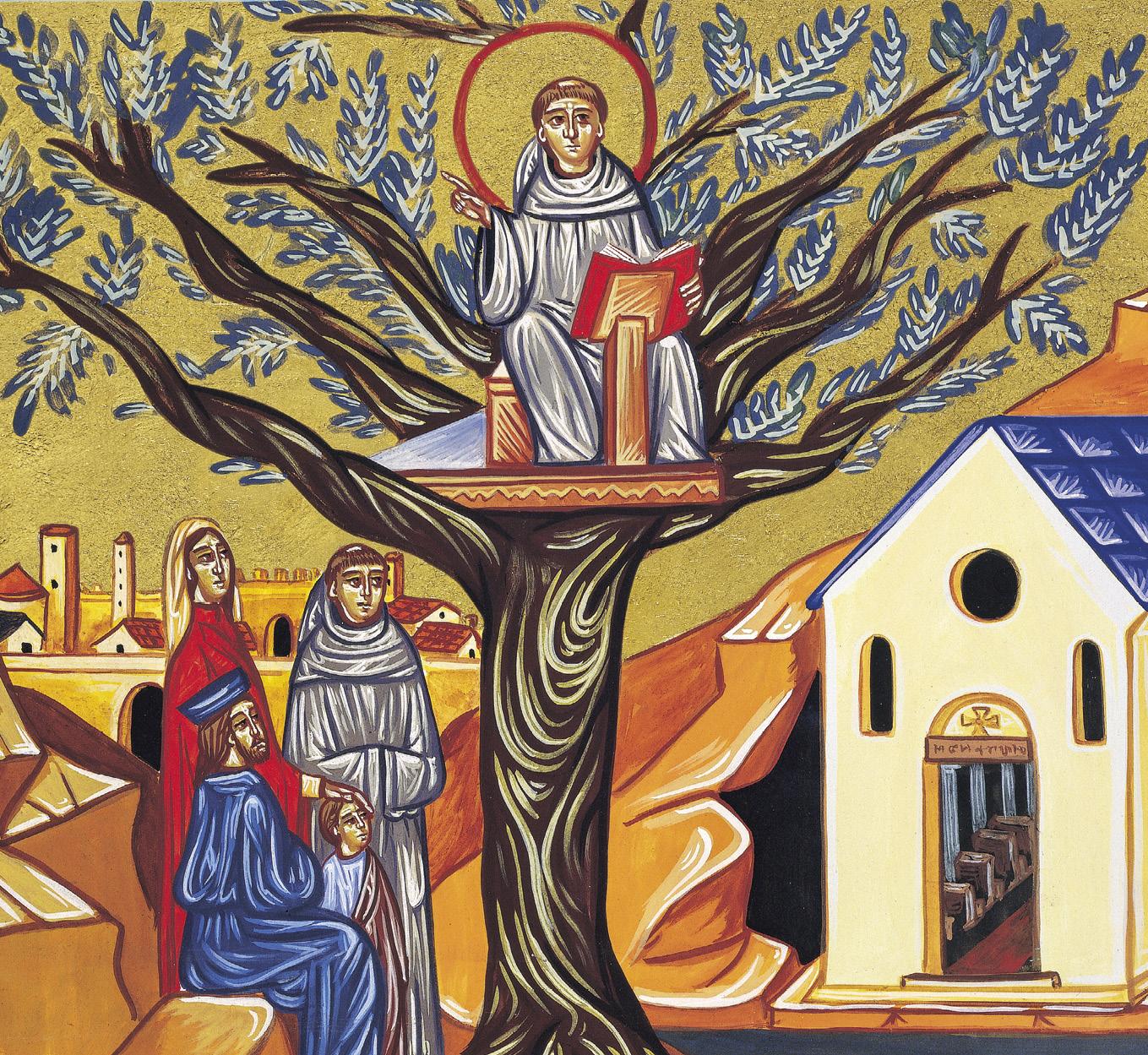 Santo António prega da nogueira, pormenor do ícone de Santo António, de Andrea Trebbi, Basílica de Santo António, Pádua, Itália.