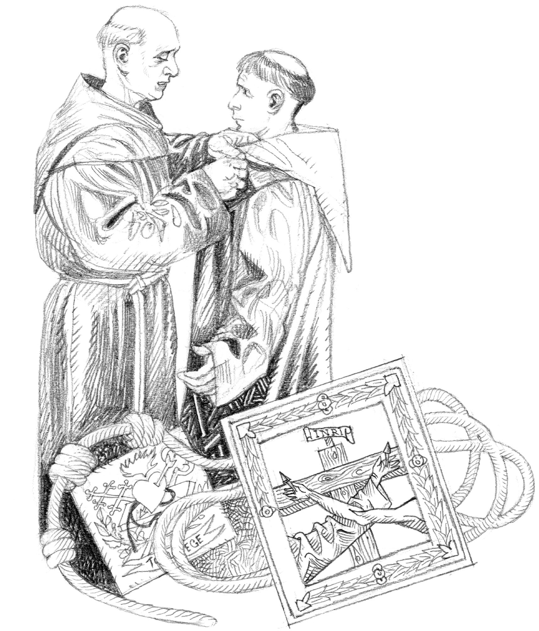 De Fernando se fez António: vestição do hábito franciscano. Ilustração de Luca Salvagno.