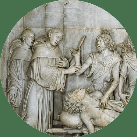Pormenor do mesmo milagre, baixo relevo de Lombardo Tullio, sec. XVI, Basílica de Santo António de Pádua. Foto Deganello Giorgio, Messaggero di Sant'Antonio.