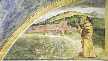 Santo António prega aos peixes. Girolamo Tessari, chamado Do Santo, sec. XVI, Santuário da Nogueira, Camposampiero. Giorgio Deganello | Arquivo MSA.