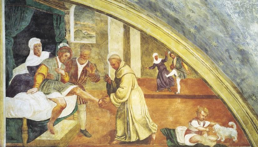 O milagre do pé recomposto. Girolamo Tessari, chamado Do Santo, sec. XVI, Santuário da Nogueira, Camposampiero. Giorgio Deganello | Arquivo MSA.
