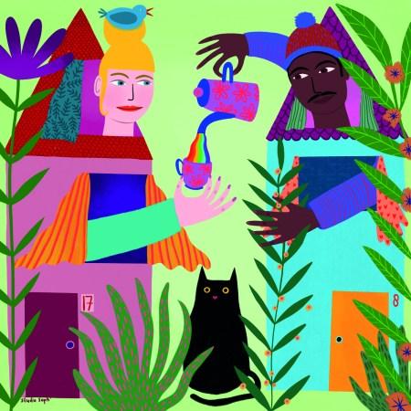 Olhando uns pelos outros, mesmo confinados em casa. Desenho de Sophie Holt, Nova Zelândia, 2021, em https://unitednations.talenthouse.com/artworks/2287910