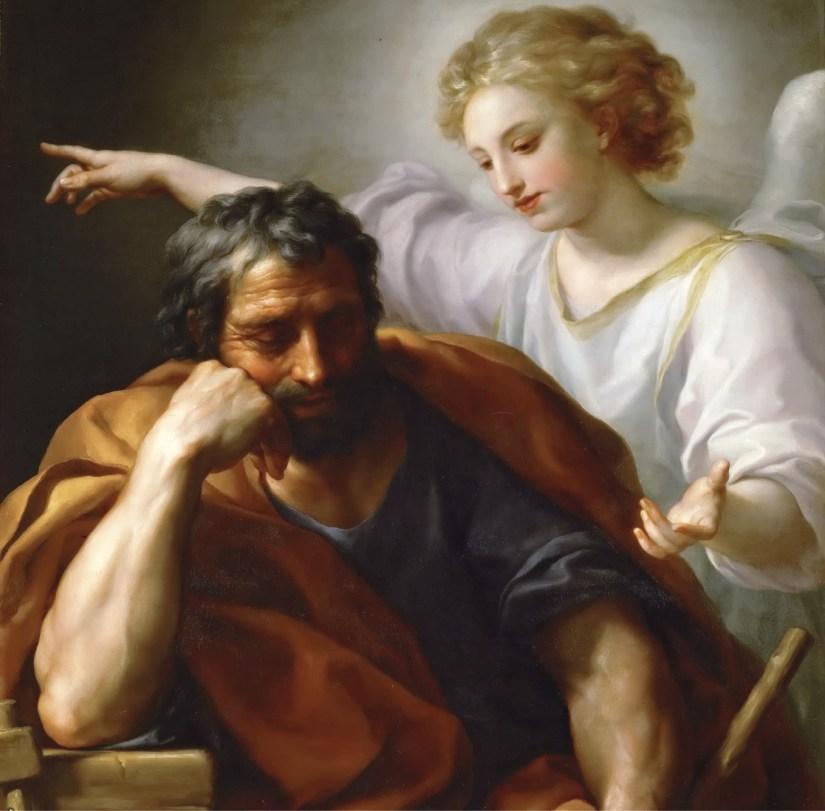 O sonho de São José, pintura de Anton Raphael Mengs, 1773, Museu de Arte de Viena, Wimedia Commons, Foto GalleriX.