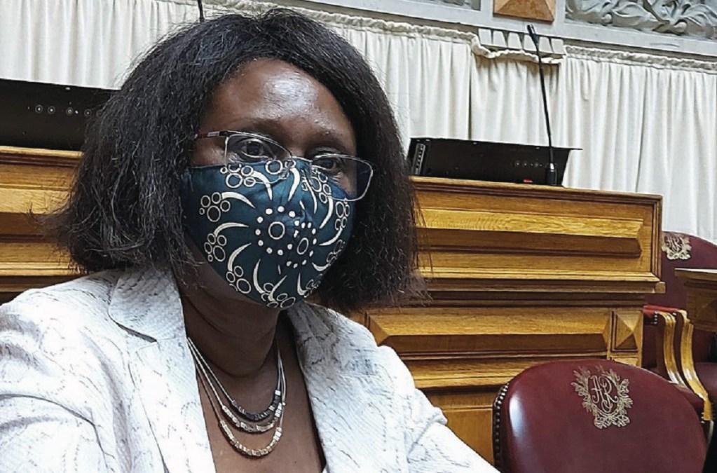 Romualda Fernandes na Assembleia da República. Foto do Facebook.