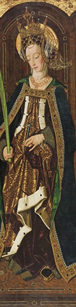 Parte central do Retábulo de Santa Engrácia, da Igreja de São Pedro de Daroca, Saragoça, Espanha. Este retábulo, da autoria de Bartolomé Bermejo (cerca de 1472-1474) foi desmembrado e espalhado pelos quatro cantos do mundo. Foto: Isabella Stuart Gardner Museum, Boston, 2015 | Wikimedia Commons.