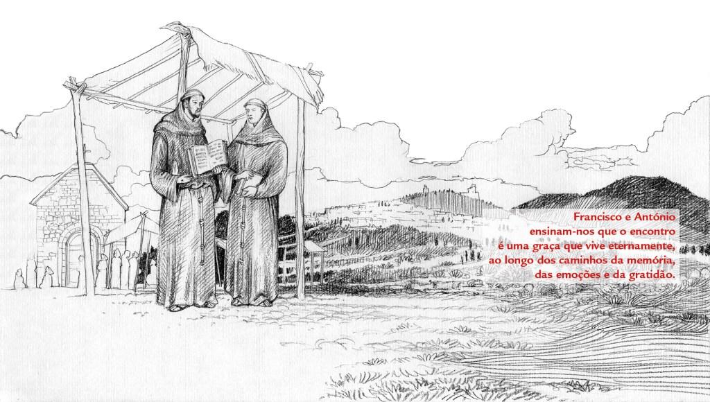 Encontro entre São Francisco e Santo António, na primavera de 1221, no Capítulo das Esteiras, em Assis. Ilustração de Luca Salvagno.