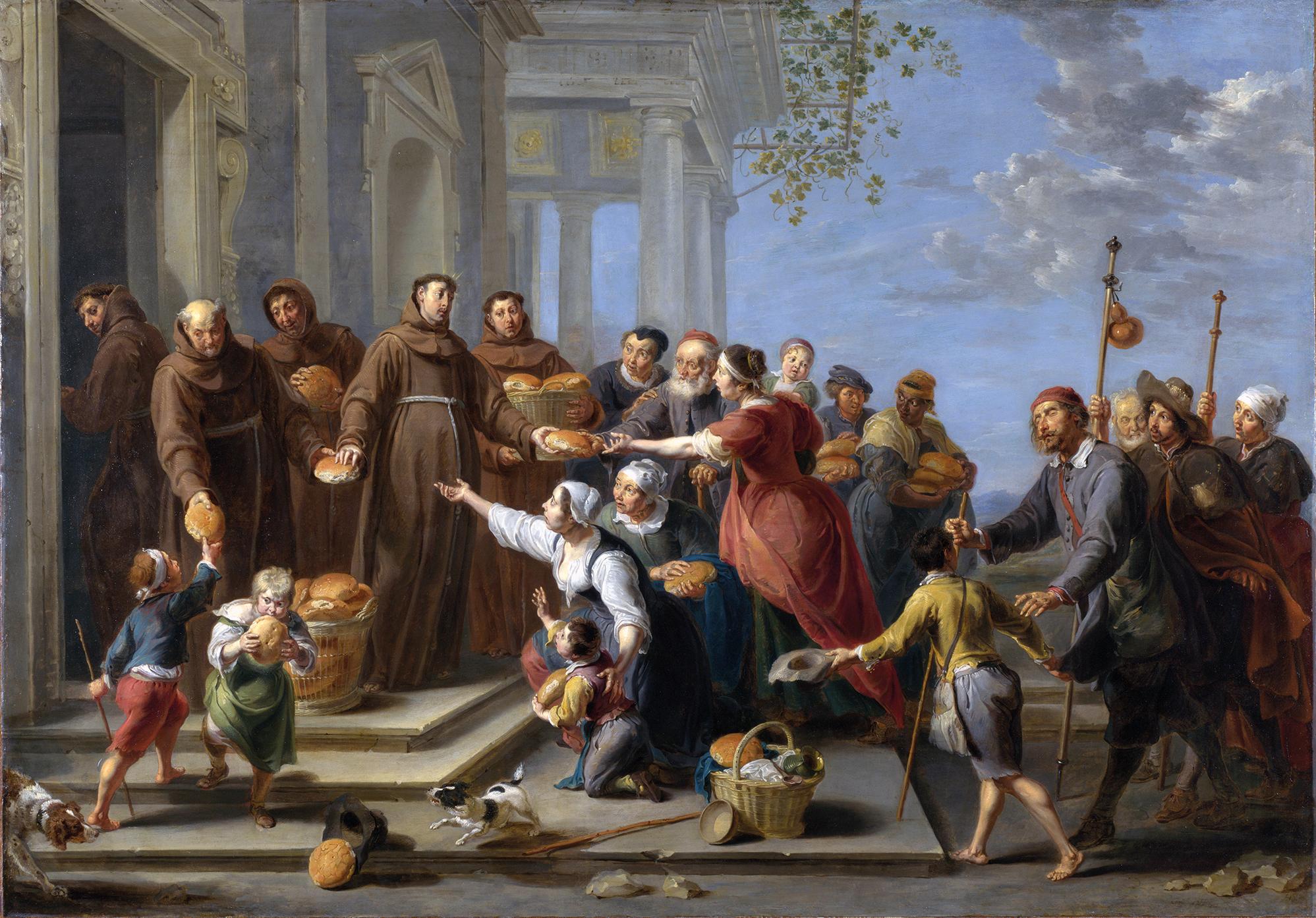 Santo António e outros frades distribuindo o pão aos pobres, óleo sobre cobre de Willem van Herp o Velho, 1662, National Gallery, Londres, Inglaterra | Wikimedia Commons.