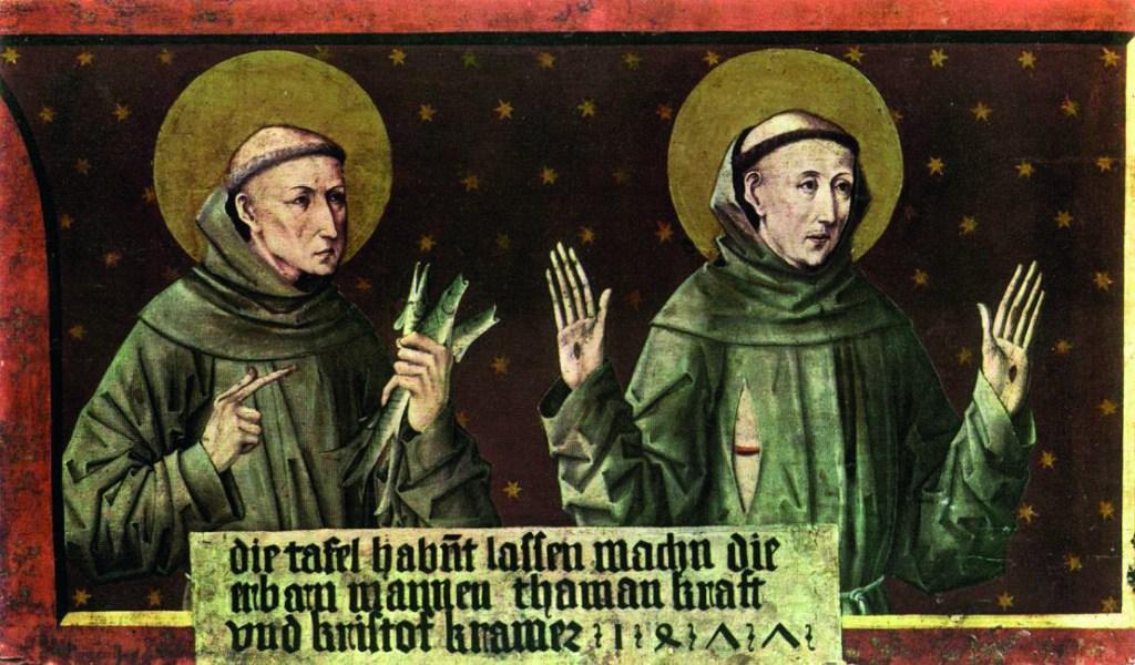 Santo António e São Francisco, Pintura em madeira de pinho, Friedrich Pacher, 1477. Foto Museu de Belas Artes, Budapeste, Hungria.