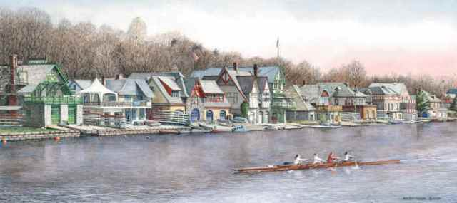 Boathouse Row 5 by Santoleri limited edition prints from watercolor painting