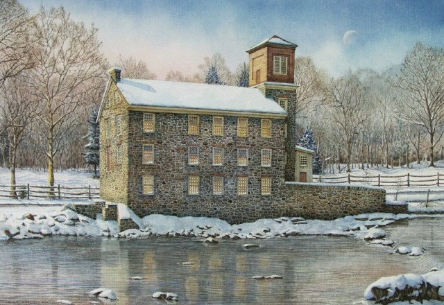 Breck's Mill by Santoleri limited Edition Prints from Watercolor Painting