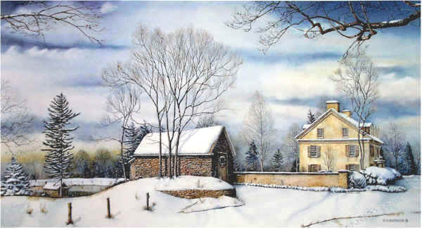 "Open Edition Prints of ""December Morning"" watercolor painting by Santoleri"