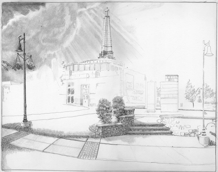 Episcopal Academy Pencil Drawing in Progress 02