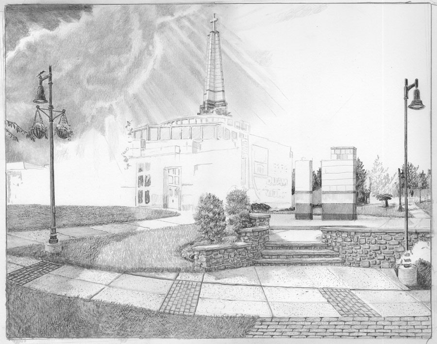 Episcopal Academy Pencil Drawing in Progress 03
