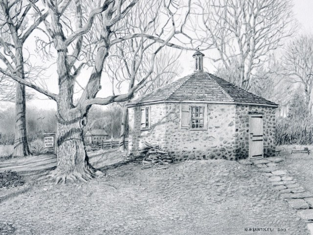 Open Edition Prints of Hood Schoolhouse Drawing by Santoleri