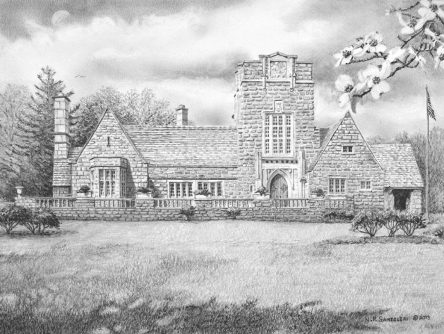 Merion Tribute House pencil drawing and Print by N Santoleri