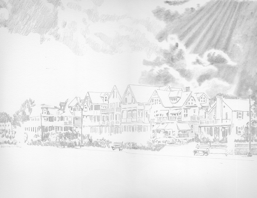Ocean Pathway pencil drawing by Nick Santoleri in progress 01