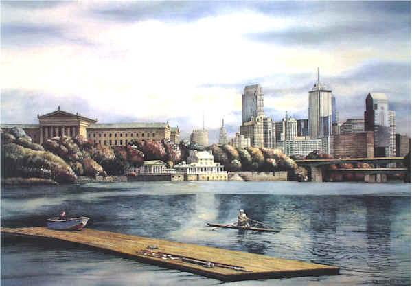 Philadelphia Skyline Santoleri limited Edition Print from Watercolor Painting