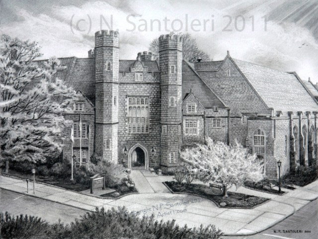 Open Edition Prints of West Chester University pencil drawing by Santoleri