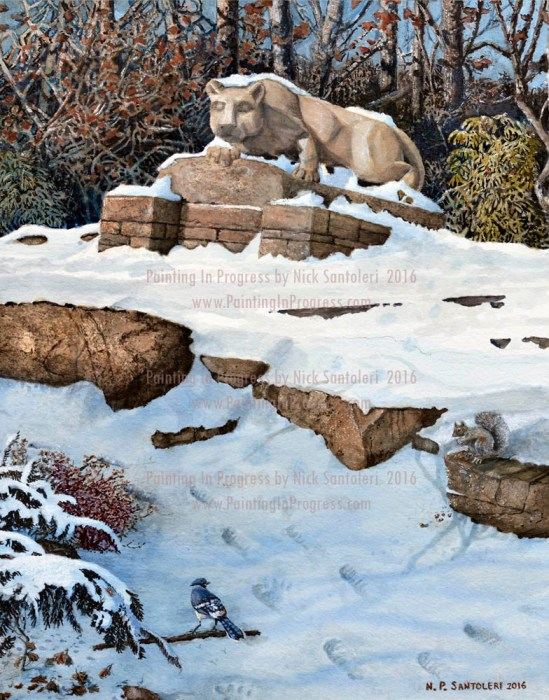 Open Edition Prints of Penn State 3 - The Lion Watercolor by Santoleri